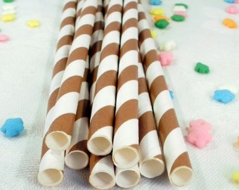 50 Brown Striped Paper Straws -