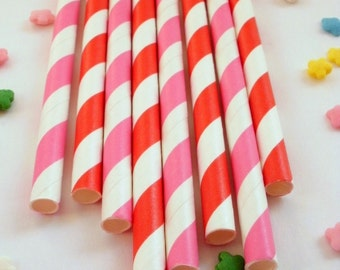 25 Hot Pink and Red Striped Paper Drinking Party Straws