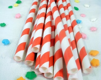 50 Red Striped Paper Straws