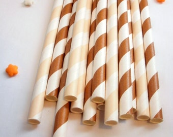 50 Rootbeer Float Brown and Ivory Straws