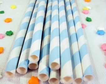50 Baby Blue Striped Paper Straws