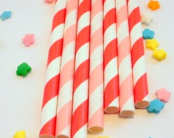 50 Pink and Red Striped Paper Drinking Party Straws