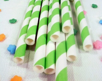 25 Lime Green Striped Paper Straws