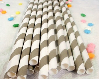 50 Grey Striped Paper Straws