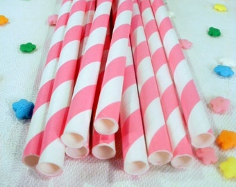 50 Pink Striped Paper Straws