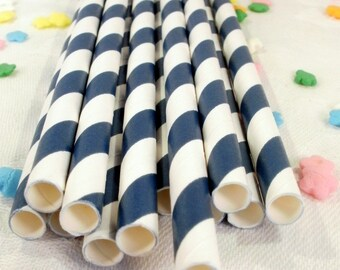 50 Navy Striped Paper Straws