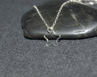 2a97cf3b6 sterling silver open star necklace, celestial necklace, dainty necklace,  minimal necklace, small star necklace