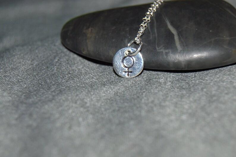 dbdd2acc6 Silver female sign necklace venus symbol necklace female | Etsy