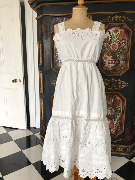 Edwardian white embroidery slip dress Broderie ang