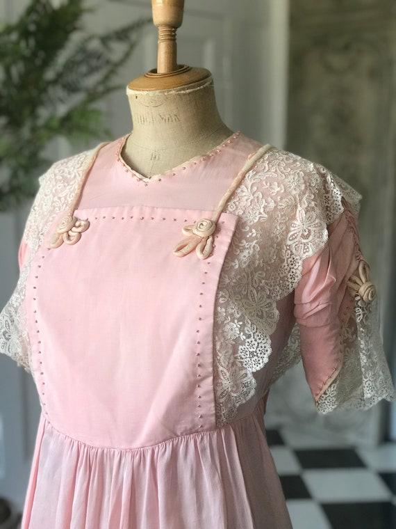 1910s Edwardian tissue silk lace pink dress