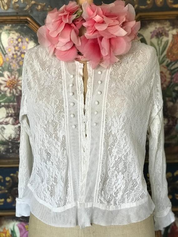 White 1910s Edwardian lace blouse