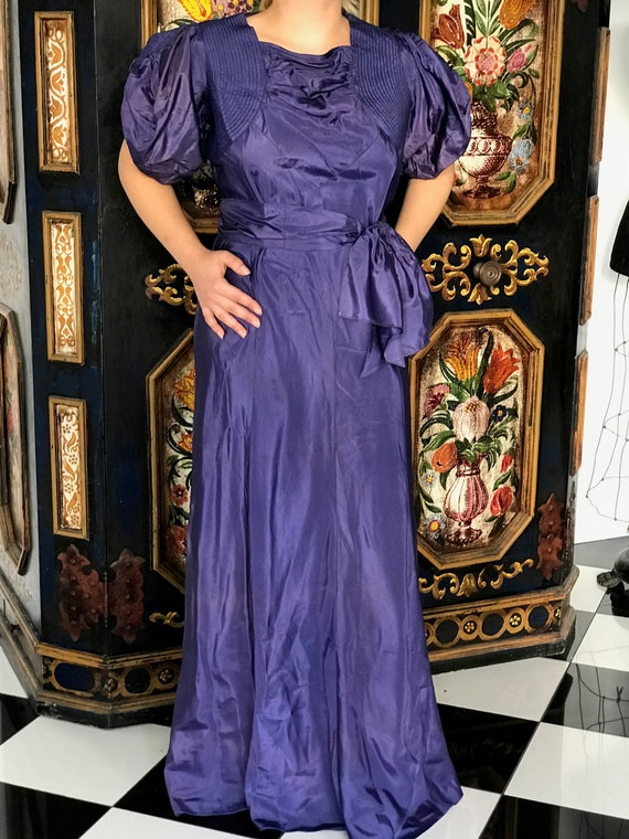 French 1930s taffeta long gown dress with large pu