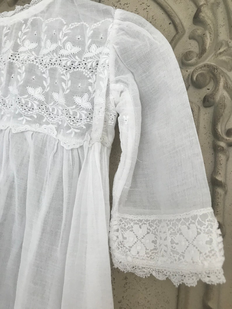Edwardian christening baby gown with embroidery and lace