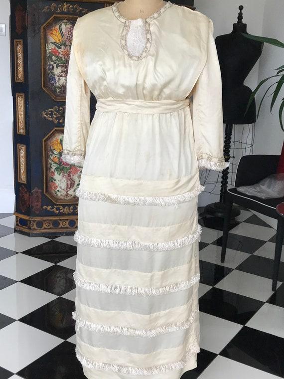 1910s Edwardian Silk wedding dress
