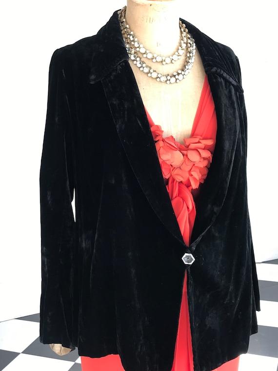 1920s 30s  black silk velvet jacket  HPs Ltd