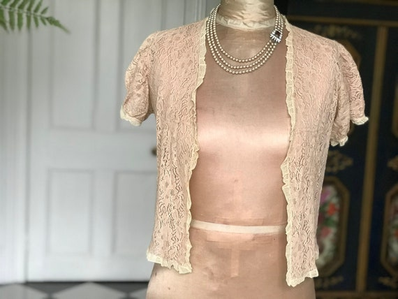 1930s Lace Blouse / cardigan bed jacket