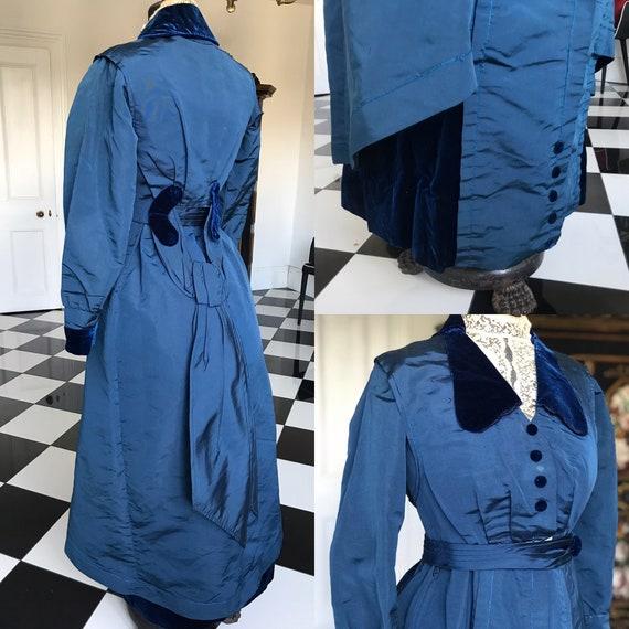 Edwardian royal blue dress 1912
