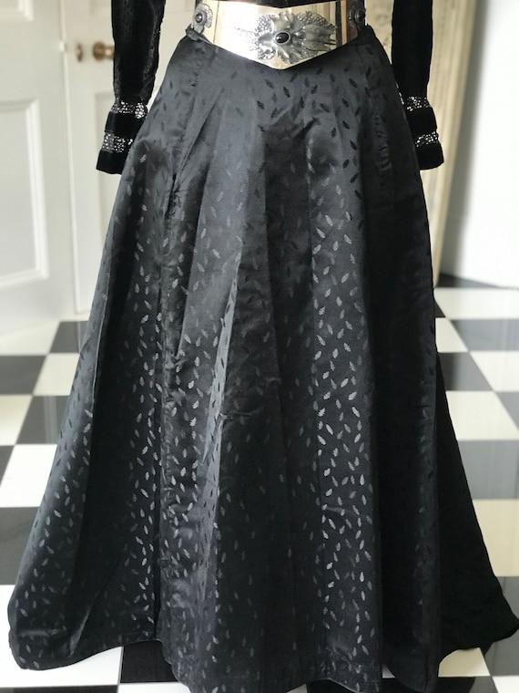 1890s - 1910s Victorian Edwardian black long silk