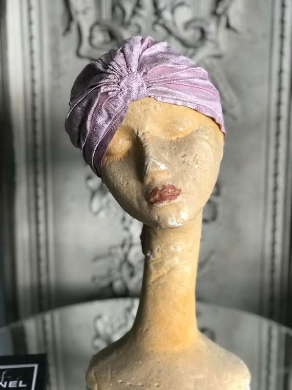 1920s lilac lame turban
