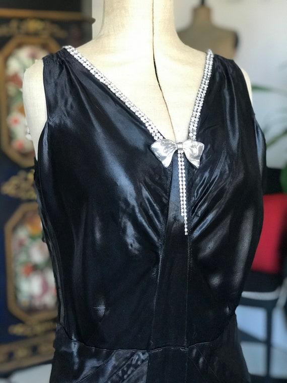 1930s black liquid satin bias cut evening dress wi