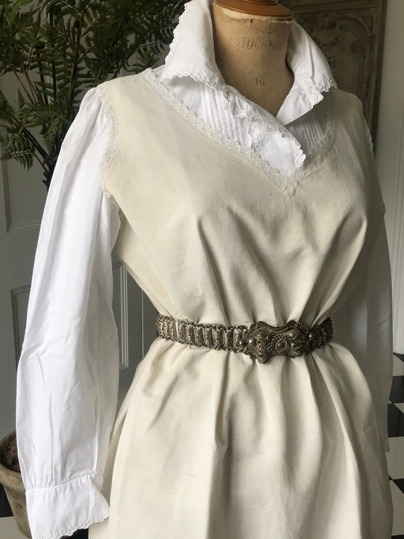 Smock linen dress with crotchet lace detailing nec