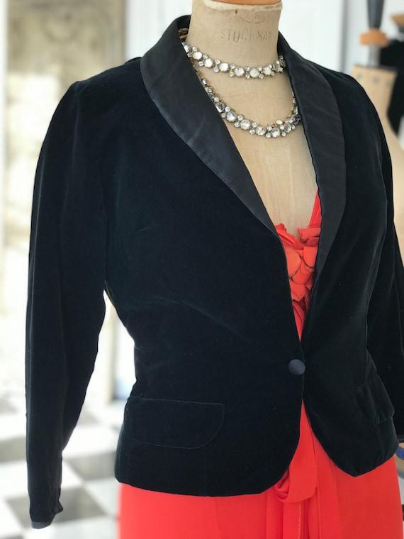 1950s 60s velvet tuxedo  jacket