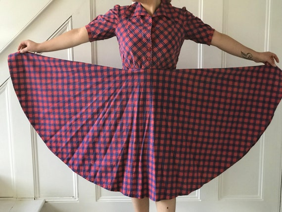 1950s dress checked pink and blue full circle skir