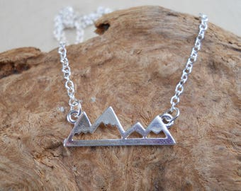 Mountain Charm Necklace / Sterling Silver Charm Necklace / Mountain Peaks / Charm Jewelry / Silver Charm / Necklace / Bronze Necklace, Peak