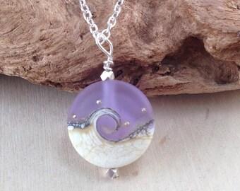 Ocean Wave Necklace, Ocean Jewelry, Purple Wave Necklace, Sea Glass Necklace, Wave Necklace, Lampwork Bead, Aqua Blue Necklace, Purple Wave