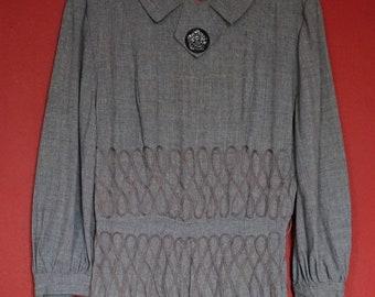 65c71c5806 Original 30s 40s Art Deco Ribbon Work Cotton Linen Dress