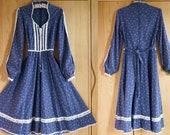 1970s Gunne Sax Floral Calico Corset Midi Dress, Western Victorian Renaissance Medieval Boho Prairie Cottagecore Dress