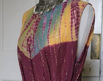 SALE 70s 80s Indian Gauze Cotton Dress with metallic threads Gypsy Dreamy Festival Hippie Boho Beach FREE size S-XXXL