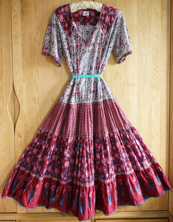 70s 80s Hand Block Printed Indian Cotton Gypsy/Fes