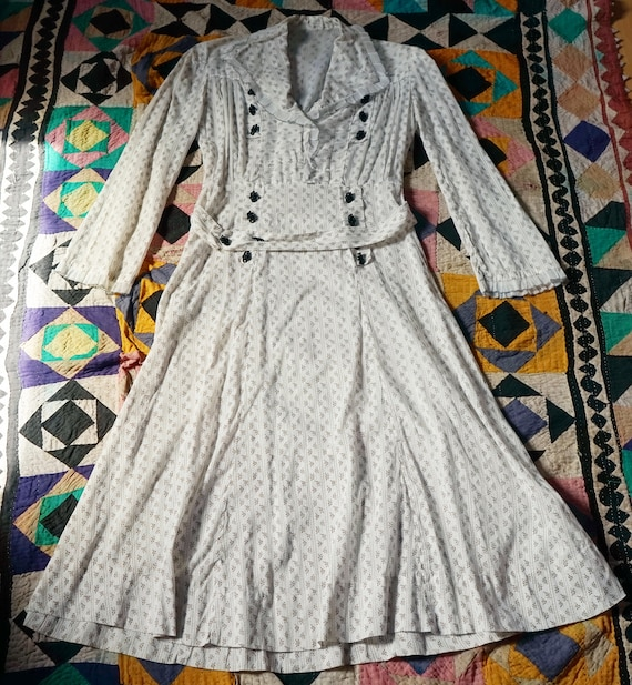 1920s/1930s Sheer Cotton Rose Print Day Dress
