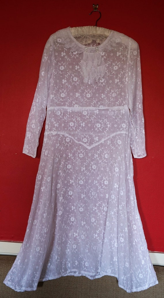 1920s Sheer Cotton Embroidered Flapper Dress/Weddi