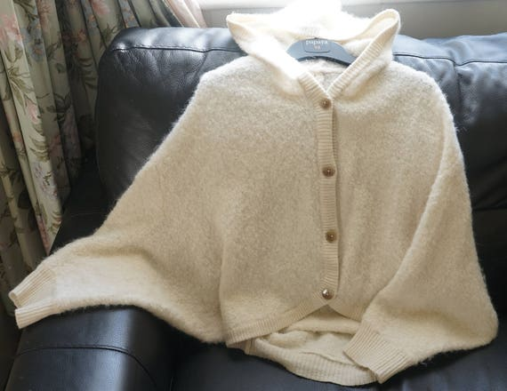 a21e87af4 Super soft furry knitted hooded cardigan cape Knitwear