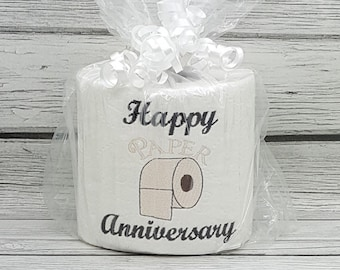 Happy 1st Paper Anniversary 3 Embroidered Toilet Paper