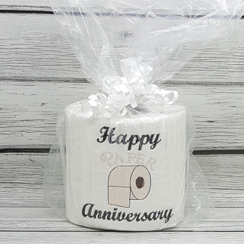 Happy Paper Anniversary embroidered novelty toilet paper image 0