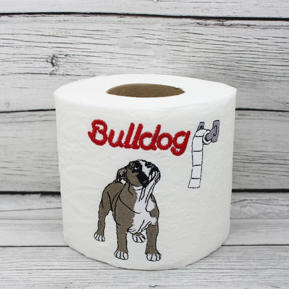 Bulldog Embroidered Novelty Toilet Paper Dog Lover Home Etsy
