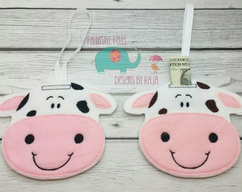 Cow hanging felt piggy bank, embroidered decoration, lost tooth, fairy, money, children, kids, childs, money saving, farm animal, pets