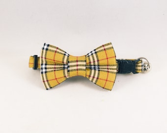 Furberry Tan Plaid Cat Collars with Optional Bow Ties