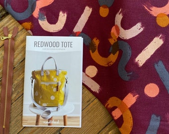 Redwood Tote Kit: Ruby Star Canvas + Denim Waxed Canvas
