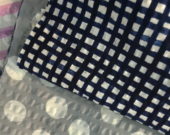 Watercolor Grid Seersucker Lawn in NAVY by Hokkoh