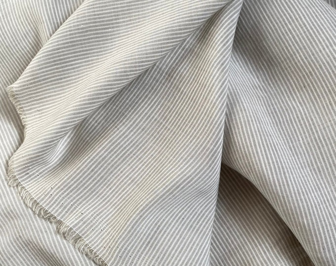 Beige Linen Blend Ticking Made in Italy