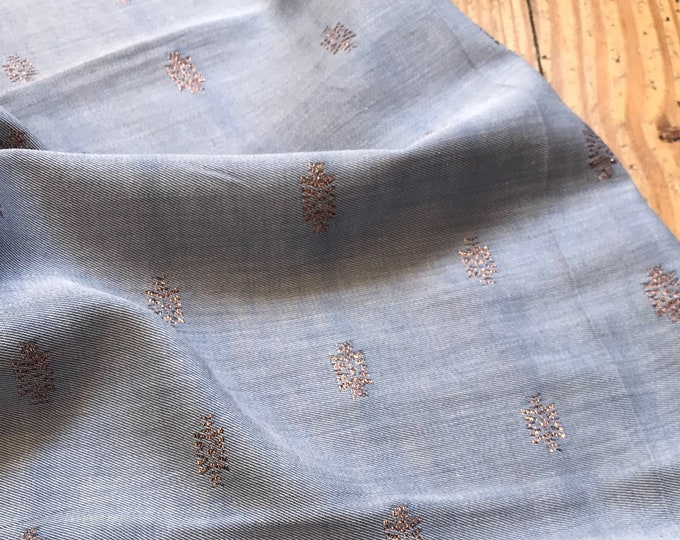 Woven Silk/Cotton/Metallic in Blue and Gold