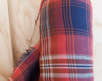 100% Cotton Plaid in Red and Navy