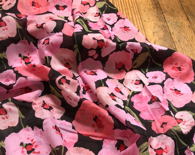 Pink Poppies on Black for LUSH Collection by Cloud9
