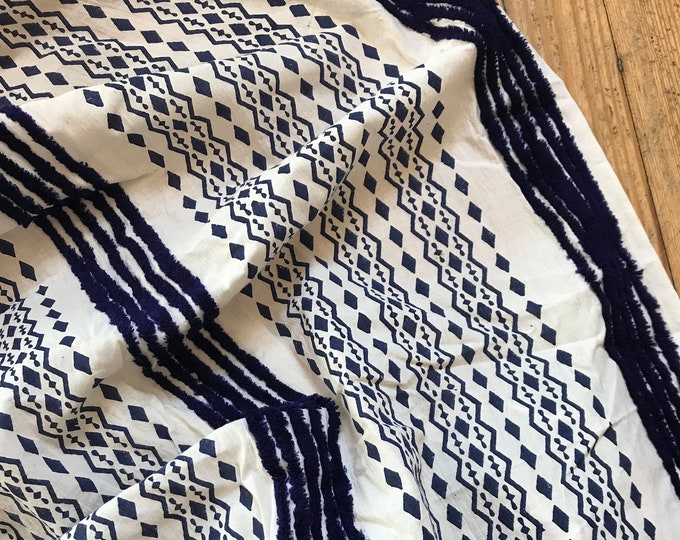 Ikat Print with Tufted Stripe in White and Indigo