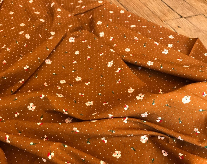 Flower Polka Dot on Caramel - 100% Cotton Lawn by HOKKOH