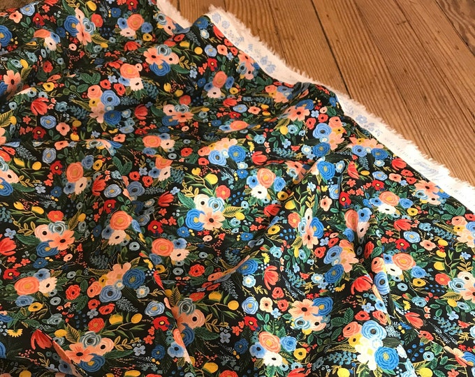 Garden Party in Navy Rayon for Wildwood Collection by Rifle Paper Co.